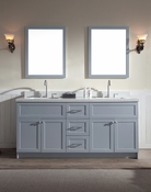 "Ariel Hamlet 73"" Double Sink Vanity Set with White Quartz Countertop in Grey"