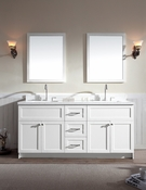 "Ariel Hamlet 73"" Double Sink Vanity Set with White Quartz Countertop in White"