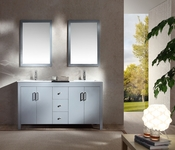 "Ariel Hanson 60"" Double Sink Vanity Set in Grey"