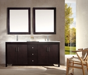"Ariel Hanson 72"" Double Sink Vanity Set in Espresso"
