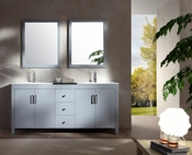 "Ariel Hanson 72"" Double Sink Vanity Set in Grey"