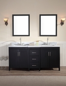 "Ariel Hollandale 73"" Double Sink Vanity Set in Black"