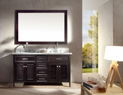 "Ariel Kensington 61"" Double Sink Vanity Set in Espresso"