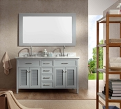 "Ariel Kensington 61"" Double Sink Vanity Set in Grey"