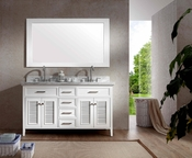 "Ariel Kensington 61"" Double Sink Vanity Set in White"
