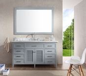 "Ariel Kensington 61"" Single Sink Vanity Set in Grey"