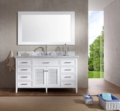 "Ariel Kensington 61"" Single Sink Vanity Set in White"