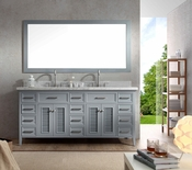 "Ariel Kensington 73"" Double Sink Vanity Set in Grey"