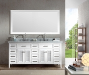 "Ariel Kensington 73"" Double Sink Vanity Set in White"
