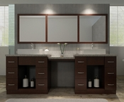 "Ariel Roosevelt 97"" Double Sink Vanity Set in Walnut"