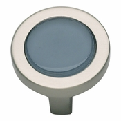 Atlas Homewares - 229-BLU-BRN - Spa Blue Round Knob - Brushed Nickel