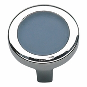 Atlas Homewares - 229-BLU-CH - Spa Blue Round Knob - Polished Chrome