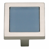 Atlas Homewares - 230-BLU-BRN - Spa Blue Square Knob - Brushed Nickel