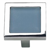 Atlas Homewares - 230-BLU-CH - Spa Blue Square Knob - Polished Chrome