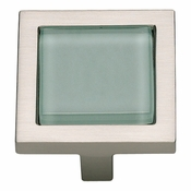 Atlas Homewares - 230-GR-BRN - Spa Green Square Knob - Brushed Nickel