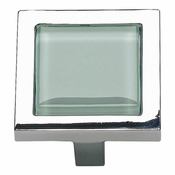 Atlas Homewares - 230-GR-CH - Spa Green Square Knob - Polished Chrome