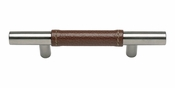 "Atlas Homewares - 280-OW-SS - Zanzibar Brown Leather Pull 3"" CC - Stainless Steel"