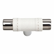 Atlas Homewares - 288-WT-CH - Zanzibar White Leather Knob - Polished Chrome