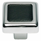 Atlas Homewares - 3149-BL - Paradigm Knob - Black Leather and Polished Chrome