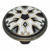 Atlas Homewares - 3186-B-W - Canterbury Knob - Black and White
