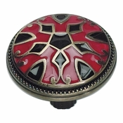 Atlas Homewares - 3186-R-B - Canterbury Knob - Black and Red