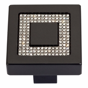 Atlas Homewares - 3192-BL - Inset Czech Crystal Square Knob - Matte Black