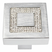 Atlas Homewares - 3192-MC - Inset Czech Crystal Square Knob - Matte Chrome