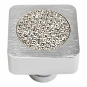Atlas Homewares - 3193-MC - Small Czech Inset Crystal Square Knob - Matte Chrome