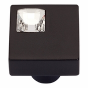 Atlas Homewares - 3194-BL - Off Center Swarovski Crystal Square Knob - Matte Black