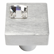 Atlas Homewares - 3194-MC - Off Center Swarovski Crystal Square Knob - Matte Chrome