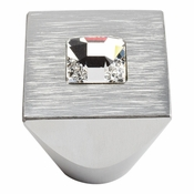 Atlas Homewares - 3195-MC - Centered Swarovski Crystal Square Knob - Matte Chrome