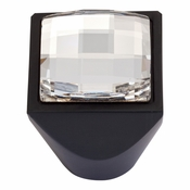 Atlas Homewares - 3196-BL - Large Swarovski Crystal Square Knob - Matte Black