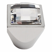 Atlas Homewares - 3196-MC - Large Swarovski Crystal Square Knob - Matte Chrome