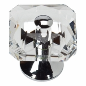 Atlas Homewares - 3209-CH - Crystal Square Knob - Polished Chrome