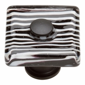 Atlas Homewares - 3223-BL - Zebra Square Glass Knob - Matte Black