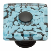 Atlas Homewares - 3225-BL - Marine Square Glass Knob - Matte Black
