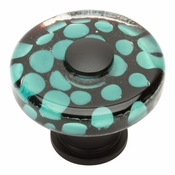 Atlas Homewares - 3227-BL - Emerald Polka Dot Round Glass Knob - Matte Black