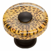 Atlas Homewares - 3231-BL - Cheetah Round Glass Knob - Matte Black