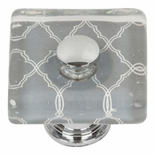 Atlas Homewares - 3234-CH - Quatrefoil Square Glass Knob - Polished Chrome