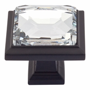 Atlas Homewares - 340-BL - Legacy Crystal Square Knob - Matte Black