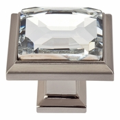 Atlas Homewares - 340-BRN - Legacy Crystal Square Knob - Brushed Nickel