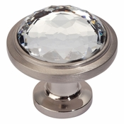 Atlas Homewares - 343-BRN - Crystal Round Knob - Brushed Nickel