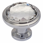 Atlas Homewares - 343-CH - Crystal Round Knob - Polished Chrome