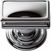 Atlas Homewares - 377-CH - Campaign Rectangle Knob 1 1/2 Inch - Polished Chrome