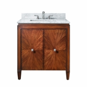 Avanity Brentwood 31 in. Vanity in New Walnut Finish with Carrera White Marble Top - BRENTWOOD-VS31-NW-C