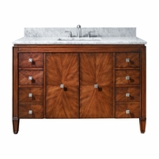 Avanity Brentwood 49 in. Vanity in New Walnut Finish with Carrera White Marble Top - BRENTWOOD-VS49-NW-C