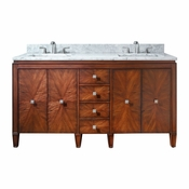 Avanity Brentwood 61 in. Double Vanity in New Walnut Finish with Carrera White Marble Top - BRENTWOOD-VS61-NW-C
