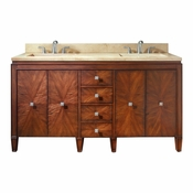 Avanity Brentwood 61 in. Double Vanity in New Walnut Finish with Galala Beige Marble Top - BRENTWOOD-VS61-NW-B