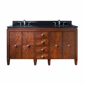 Avanity Brentwood 61 in. Double Vanity in New Walnut Finish with Black Granite Top - BRENTWOOD-VS61-NW-A