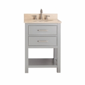 Avanity Brooks 25 in. Vanity in Chilled Gray Finish with Galala Beige Marble Top - BROOKS-VS24-CG-B